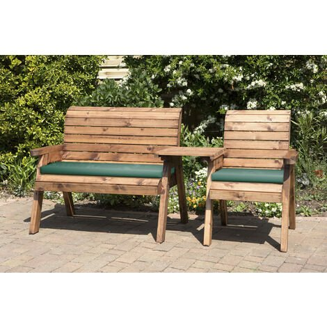 Three Seat Companion Set Straight with Green Cushions - Fully Assembled