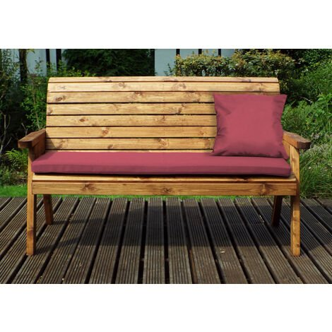 Three Seater Winchester Bench with Burgundy Cushions - Fully Assembled