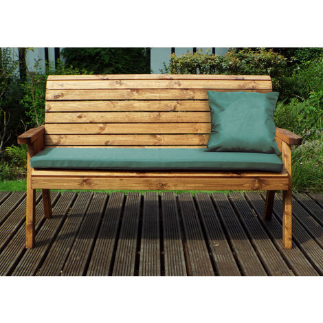 Three Seater Winchester Bench with Green Cushions - Fully Assembled