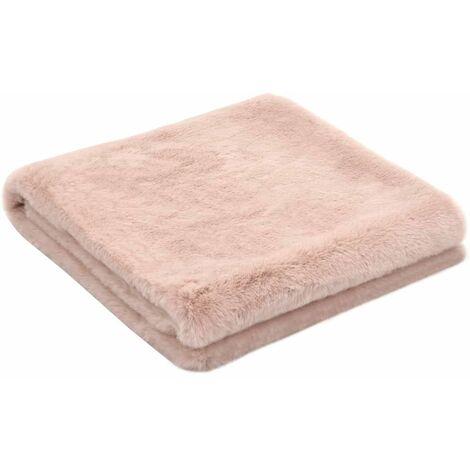 Throw 100x150 cm Faux Rabbit Fur Old Pink