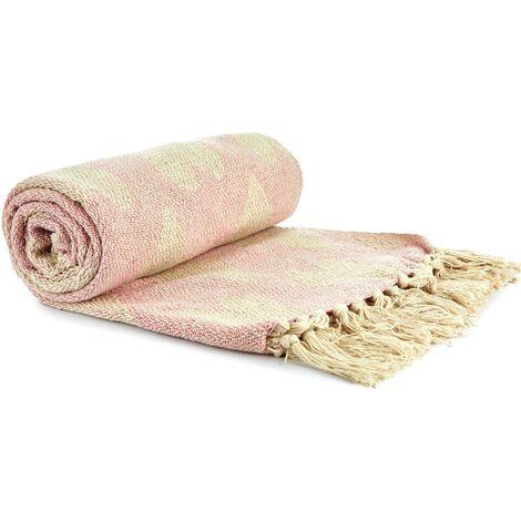 Throw Blanket 100% Recycled Cotton Throwover, Tasseled, Blush