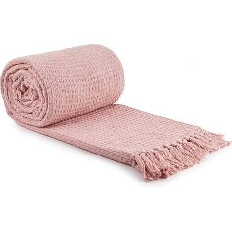 """Throw Blanket Sofa Bed Throwover 100% Cotton Recycled Honeycomb Blush 70x100"""""""
