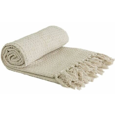 """Throw Blanket Sofa Bed Throwover 100% Cotton Recycled Honeycomb Ivory 90x100"""""""