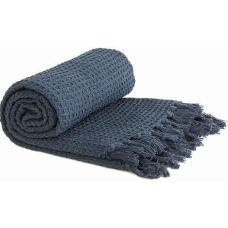 """Throw Blanket Sofa Bed Throwover 100% Cotton Recycled Honeycomb Navy 90x100"""""""