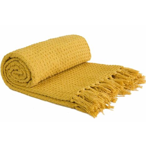 """Throw Blanket Sofa Bed Throwover 100% Cotton Recycled Honeycomb Ochre 70x100"""""""