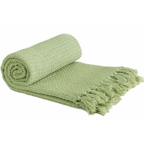"""Throw Blanket Sofa Bed Throwover 100% Cotton Recycled Honeycomb Pistachio 70x100"""""""