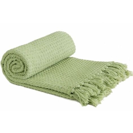 """Throw Blanket Sofa Bed Throwover 100% Cotton Recycled Honeycomb Pistachio 90x100"""""""