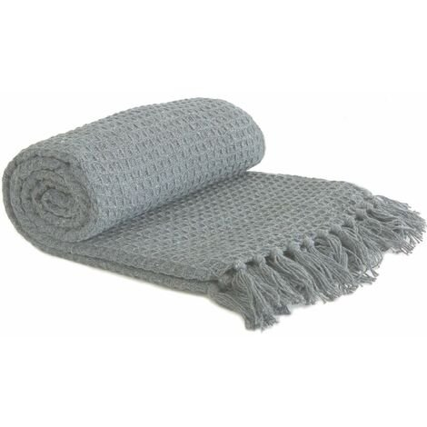 """Throw Blanket Sofa Bed Throwover 100% Cotton Recycled Honeycomb Silver 90x100"""""""