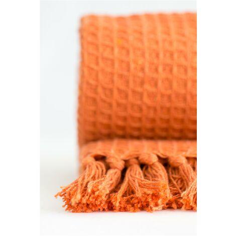 "Throw Blanket Sofa Throwover 100% Cotton Recycled Honeycomb Burnt Orange 50x60"""