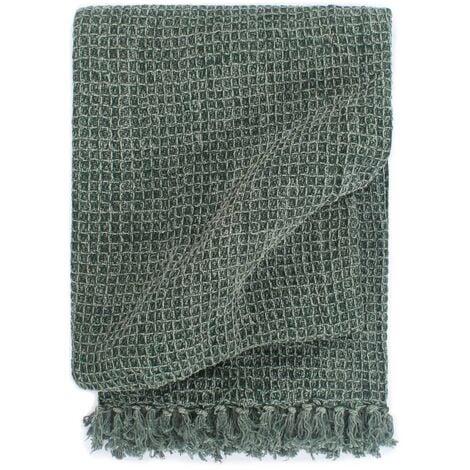 Throw Cotton 125x150 cm Dark Green - Green