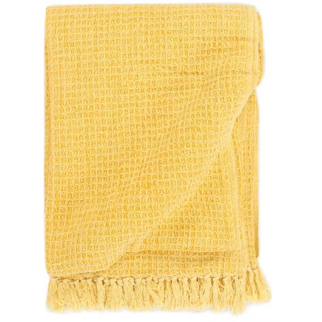 Throw Cotton 125x150 cm Mustard Yellow - Yellow
