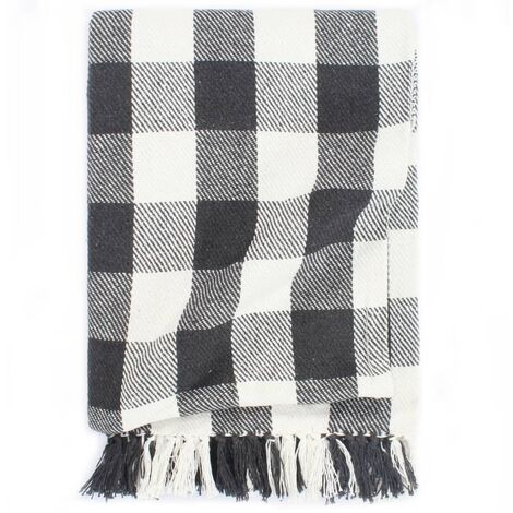Throw Cotton Check 125x150 cm Anthracite