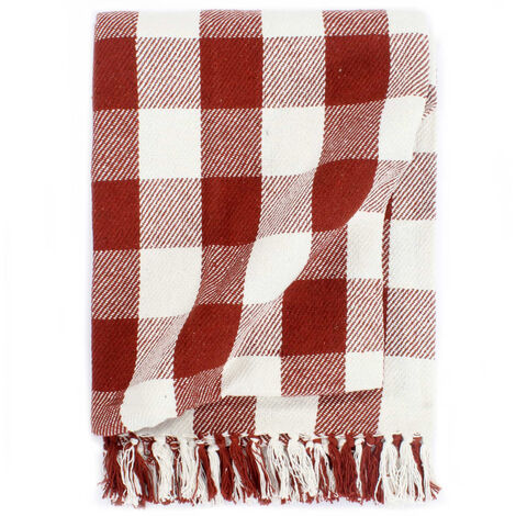 Throw Cotton Check 125x150 cm Stone Red