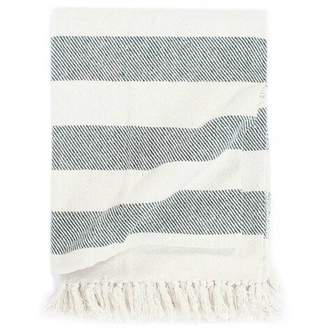 Throw Cotton Stripe 125x150 cm Dark Green