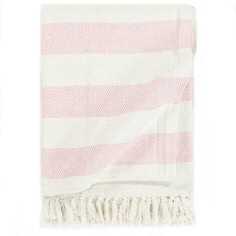 Throw Cotton Stripe 125x150 cm Old Pink