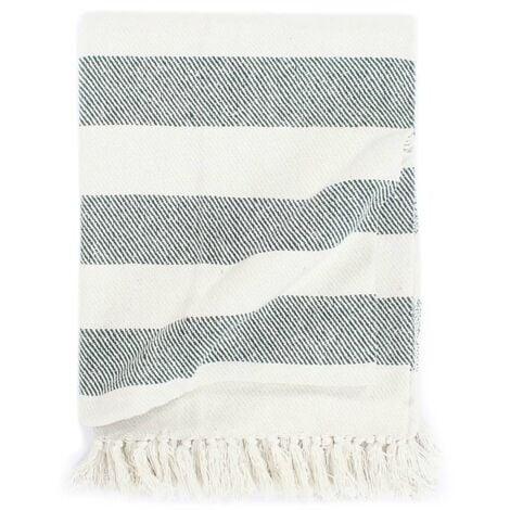 Throw Cotton Stripe 220x250 cm Dark Green - Green
