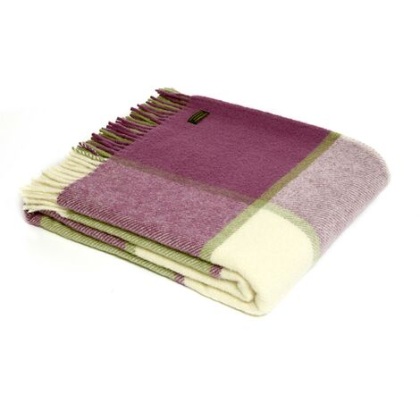 Throw - Raspberry and green check pure new wool throw - 150 x 183cm