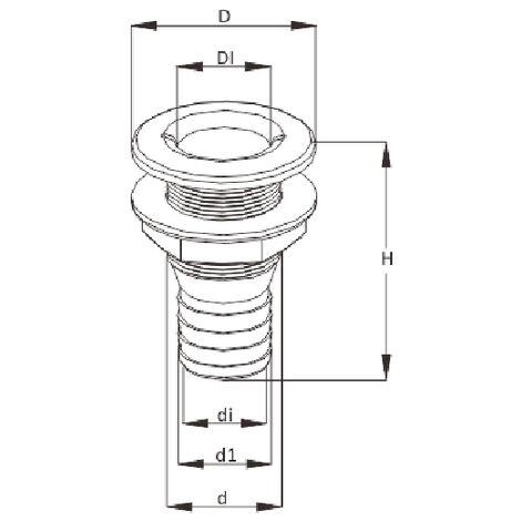 "Thru Hull Fitting 16MM 5/8"" (White Plastic Boat Bilge Drain Socket)"