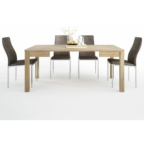 TiaMaria Dining set package TiaMaria Extending Dining Table + 6 Lillie High Back Chair Dark Brown.