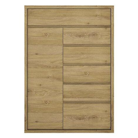 Tiamaria Oak Glazed Wood Storage Cupboard - 1 Door 6 Drawer