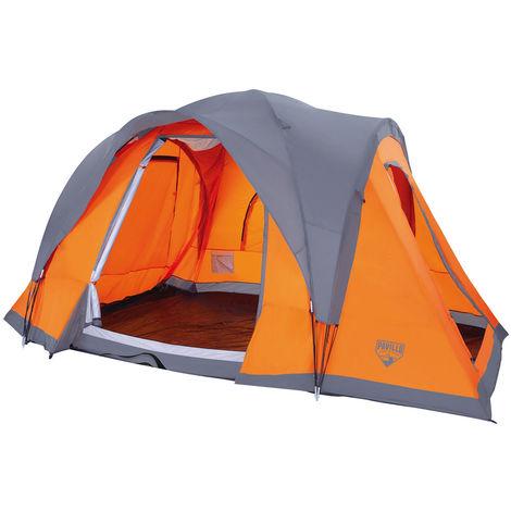 Tienda de campaña familiar de poliéster naranja de 210x450x240 cm