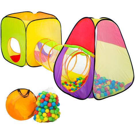 Tienda de campaña pirámide con túnel, 200 bolas y bolsa - parque infantil con bolas de colores, tienda de juegos plegable con techo desmontable, casita infantil de juegos con túnel - Varios colores