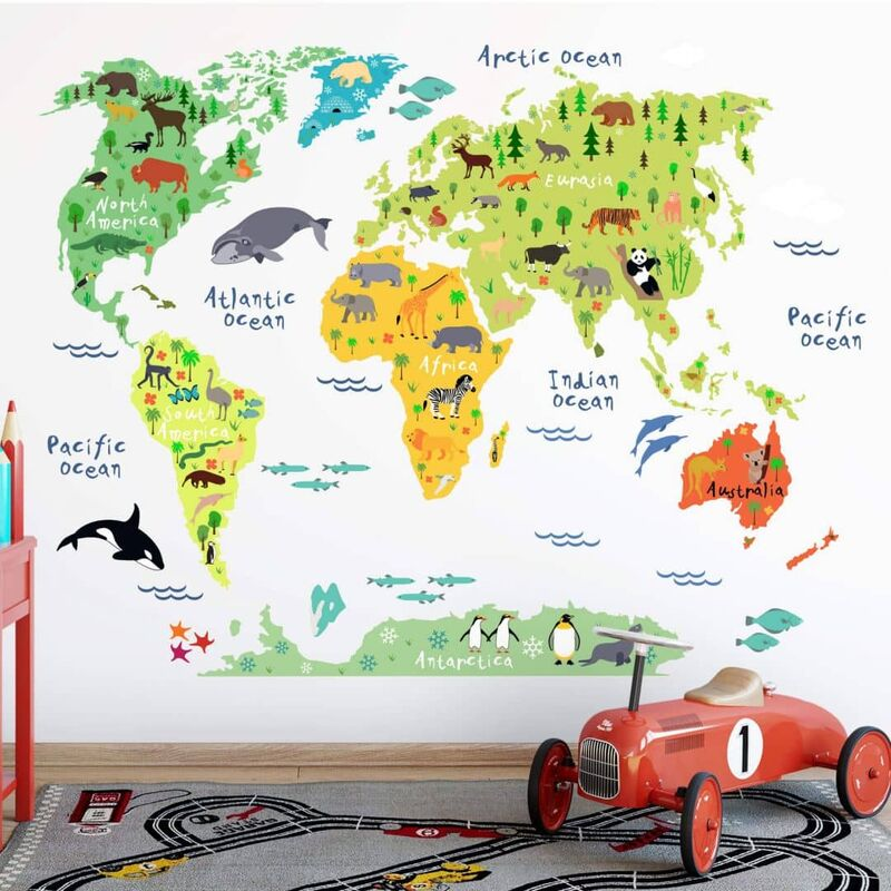 Wandtattoo Tiere Weltkarte Englisch 120x90cm Sticker 37251