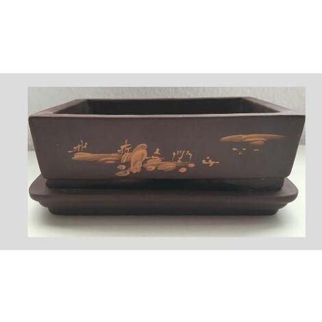 Tiesto Yixing 17 cm rectangular marrón + plato