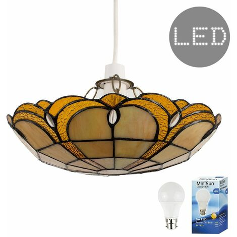 Tiffany Amber Jewelled Glass Uplighter Ceiling Pendant Light Shade + 6W LED Gls Bulb - Warm White - Gold