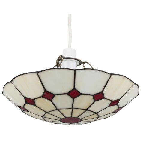 Tiffany Ceiling Pendant Light Shade - Cortez Red - Red