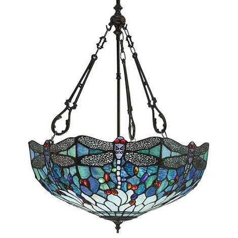 Tiffany Dragonfly Blue Large Inverted 3 Light Ceiling Pendant 60W
