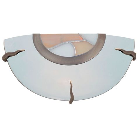 TIFFANY GLASS FLUSH WALL BRACKET DISH - AMBER DECRO