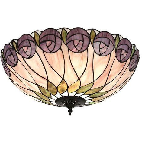 Tiffany Hutchinson Large 2 Light Flush Ceiling Light Led Fitting 60W