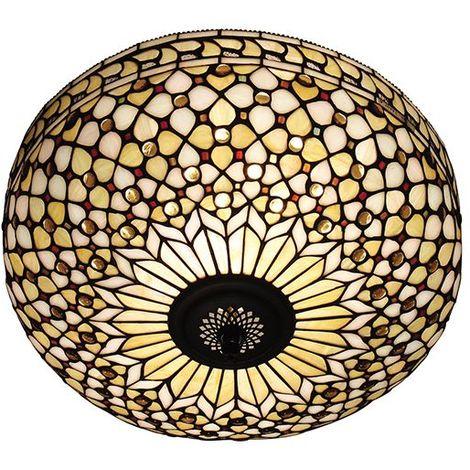 Tiffany Mille Feux Large 2 Light Flush Lighting Fitting 60W Home Decor Lighting