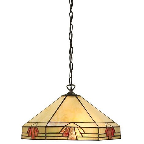 Tiffany Nevada Medium 1Lt Pendant Light Beige Coloured Stained Glass Shade 60W
