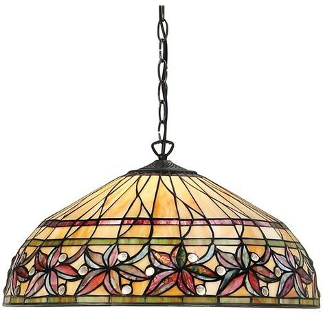 Tiffany Style Ashtead Large 3Lt Ceiling Pendant Stained Glass Shade 60W