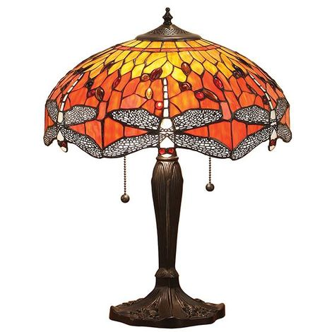 Tiffany Style Dragonfly Flame Medium Table Lamp Orange & Yellow Glass Shade 60W