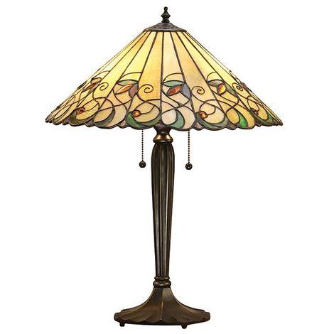 Tiffany Style Jamelia Medium Bedside Table Lamp Round Glass Shade 60W
