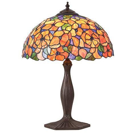 Tiffany Style Josette Medium Table Lamp - Multi Colored Glass Shade 60W
