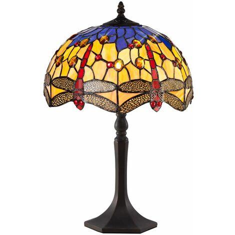 Tiffany style table lamp Clio 1 Bulb Orange / Blue