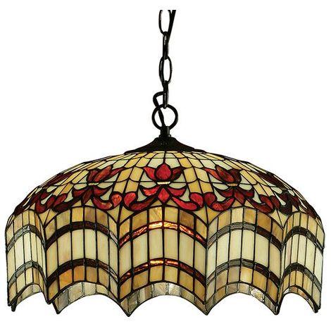 Tiffany Style Vesta Medium 3Lt Ceiling Pendant Light With Glass Shade 60W