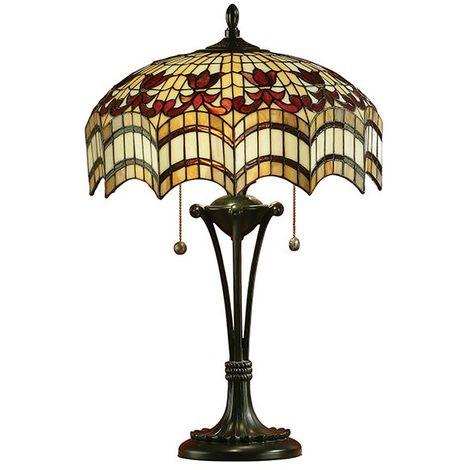 Tiffany Style Vesta Medium Table Lamp With Multi Coloured Glass Shade