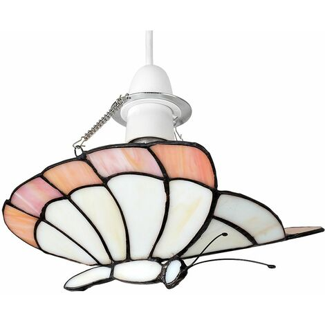 Tiffany White Peach Glass Butterfly Ceiling Pendant Light Shade + 6W LED Gls Bulb - Warm White