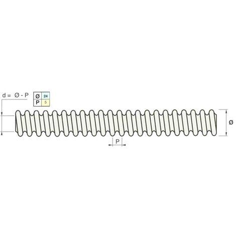 Tige filetée Ø 24 mm filetage rond de longueur 1,00 ml pour console de façade (acier spécial RE355)