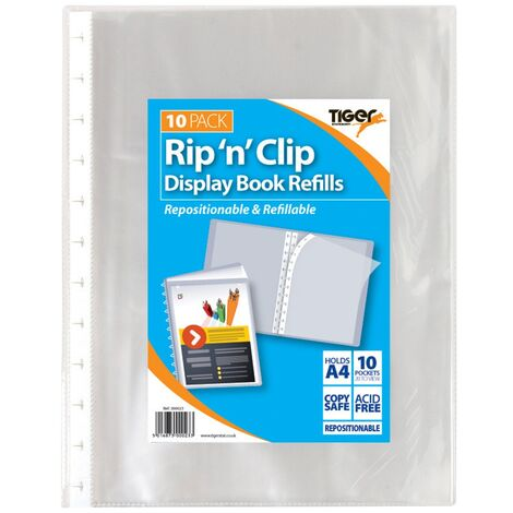 Tiger Stationery Rip N Clip A4 Display Book (One Size) (Clear)