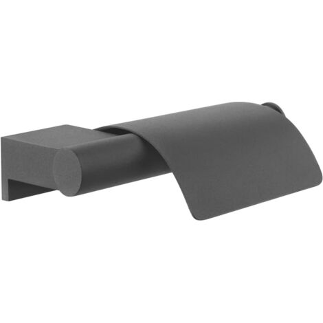 "Tiger Toilet Roll Holder ""Bold"" Matt Black with Cover"