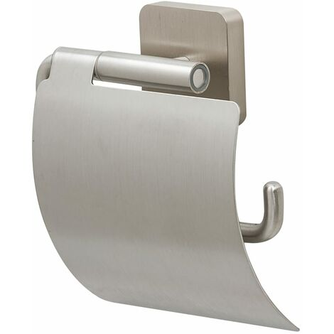 "Tiger Toilet Roll Holder ""Onu"" with Cover Stainless Steel - Silver"