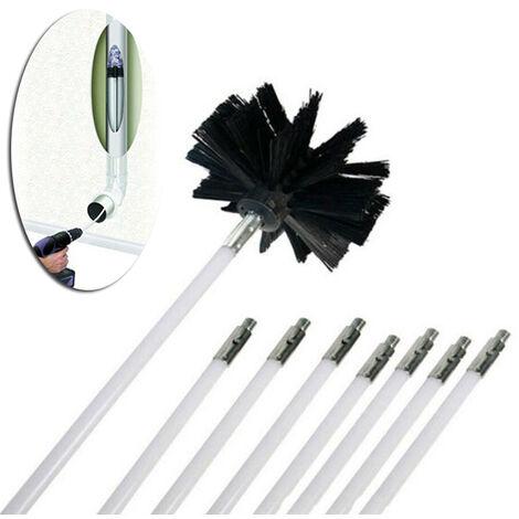 Tiges flexibles 8 pièces + 1 pc tête de brosse nettoyeur de cheminée balayage cheminées rotatives foyers de nettoyage de paroi intérieure nettoyeur de cheminées accès