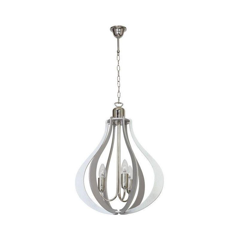 Homemania - Tigris Haengelampe - Kronleuchter - Deckenkronleuchter - Grau aus Metall, Holz, 40 x 40 x 100 cm, 3 x E14, 40W