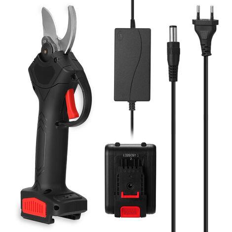 Tijera de podar electrica inalambrica de 21 V, cortadora de ramas de poda de arboles frutales eficiente, herramienta de jardineria, UE, bateria de 2 uds.